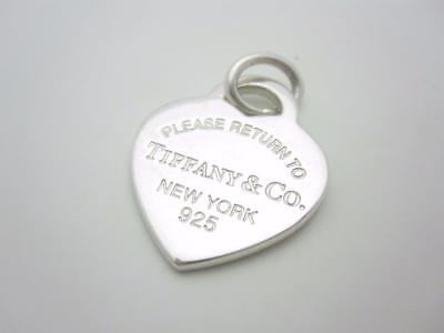 Please Return To Tiffany & Co. Sterling Silver Medium Heart Tag Charm Pendant