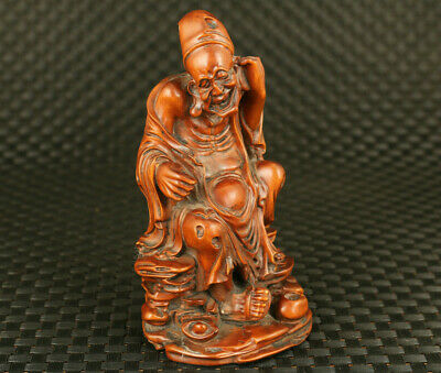 chinese rare old boxwood hand carved doctor ji gong figure statue collectable