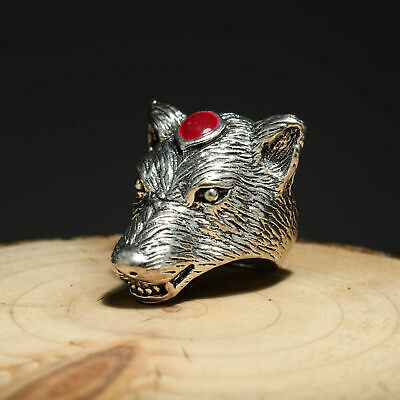 Collectable China Old Miao Silver Hand-Carved Atrocious Wolf Delicate Decor Ring