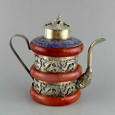 Collectable China Tibet Silver Cloisonne Inlay Jade Carved Dragon Noble Wine Pot