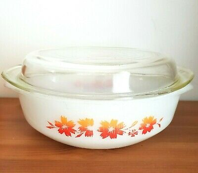 PYREX Vintage Round Casserole Dish With Glass Lid Ovenware Red Floral Pattern