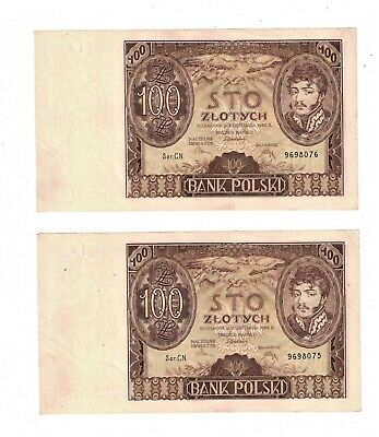 1934 Poland 100 Zlotych 2 Consecutive Notes  AU PB1