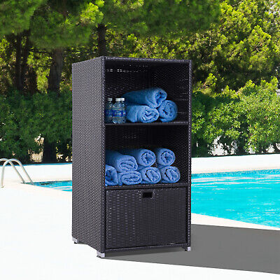 Wicker Towel Valet Organizer Pool Bathroom Cabinet 2 Shelf 1 Drawer
