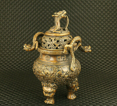 old chinese bronze hand cast dargon statue censer collectable decoration gift