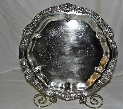 F.B. Rogers Silver Co. Round Ornate Serving Tray