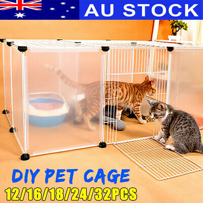 12-32 Panel DIY Pet Dog Cat Puppy Exercise Cage Kennel Enclosure Fence Playpen