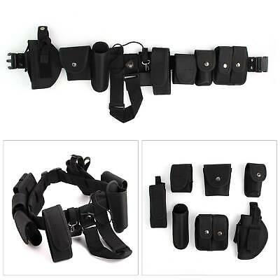 Men Police Guard Tactical Belt Buckles Black With 9 Pouches Utility System