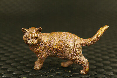 chinese old bronze hand cast big cat statue collectable unique decoration gift
