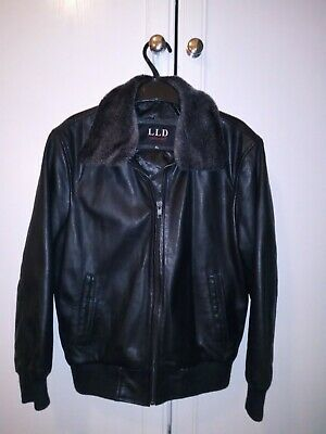 Girls Immaculate Leather Bomber Jacket with detachable fur collar Age 8-9 Years
