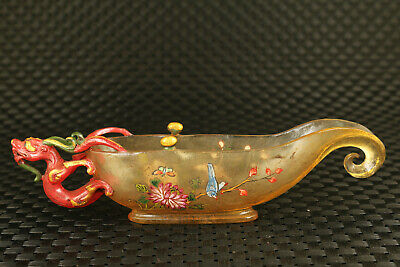 Chinese old coloured glaze hand painting dragon statue glass wine cup decor