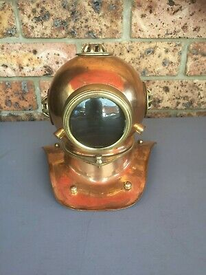 Vintage Brass & Copper Small DIVER'S HELMET Ornament 19cm Tall