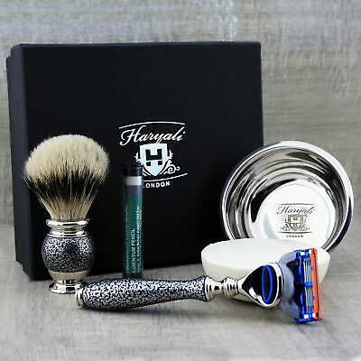 Premium Shaving Kit Pure SilverTip Badger Brush & 5 Edge Cartridge Razor, Soap