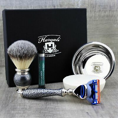 Shaving Set Synthetic Brush & 5 Edge Cartridge Razor & Soap Bowl Men's Kit