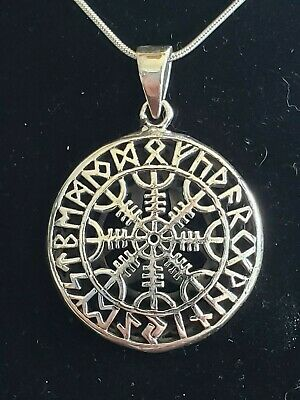 """Sterling Silver Celtic Viking Helm of Awe Pendant Includes 20"""" Snake Chain"""