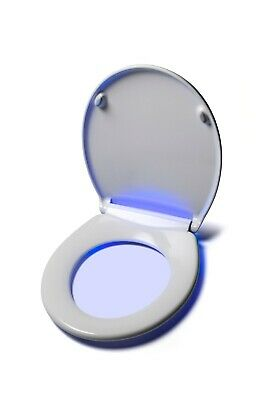 Soft Close Toilet Seat Built In Night Light LED O Shape Oval Quick Release Smart