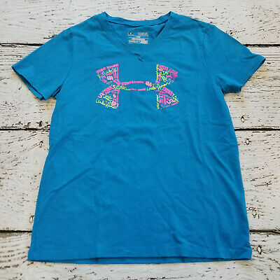 UNDER ARMOUR Girls Blue Logo V Neck Tee Shirt YMD Medium