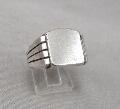Vintage Asymmetrical STERLING Silver Signet Ring Mid Century Modern 10.8g Size11