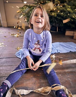 Joules Girls Festive Ava Applique T Shirt  - BLUE SNOWMAN