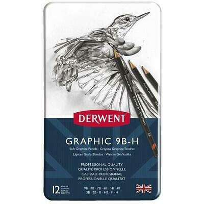 DERWENT Graphic Pencils  - Tin of 12 Pencils - SOFT (9B-H)