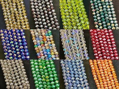Faceted Rondelle / Abacus crystal glass beads strand - AB (rainbow) / Lustered