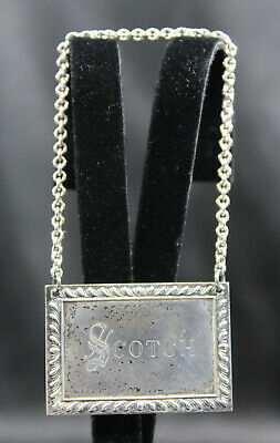 S.Kirk & Son Sterling Silver 'Scotch' Decanter Bottle Label Tag