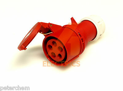 16 amp Coupler Trailing Socket 5 pin 380 - 415V 3 phase IP44 16A industrial red