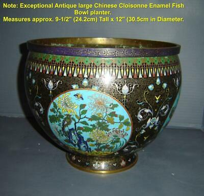 Antique Important Chinese Qing Guangxu Large Cloisonne Enamel Fish Bowl Planter.
