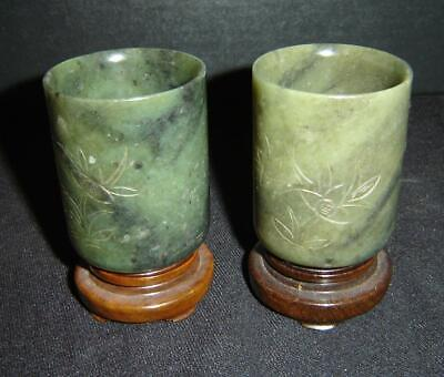 Antique Chinese Green Spinach Jade Pair of Small Vases Tea Cups With Wood Stands
