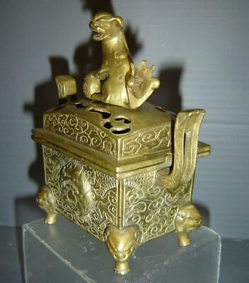 Antique Chinese Small Bronze Incense Burner Censer Dragon Foo Lion Finial Signed