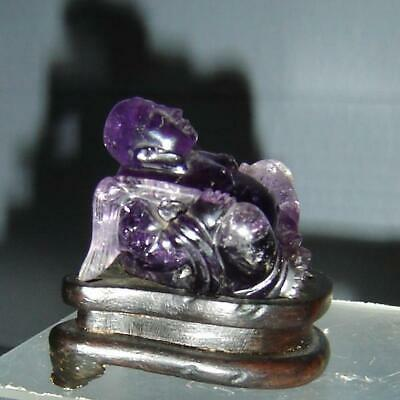 Antique Chinese Finely Carved Amethyst Quartz Seated Buddha Figurine And Stand.