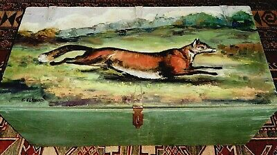Vintage Blanket Chest Fox Painting - Horse & Hound Equestrian English Country