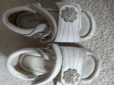 Baby girl's white leather sandals.Clark's size 4