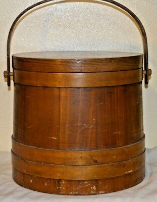 Vintage Round Wood Sewing Box Pail Handle Lid Rustic Primitive 13x12x12.5