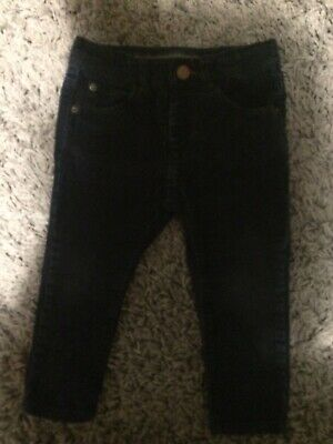 Boys Zara Cord Trousers Age 12-18 Months With Adjustable Waist Navy Blue