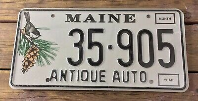 Maine Antique Auto Pair Of License Plates Sealed NOS New Old Stock Set Chickadee