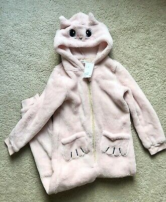 Girls 6-7y pink cat all in one/pyjamas/pjs/onesie (not Gerber) BNWT from H&M