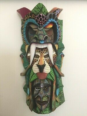 Boruca Mask Three Heads- Costa Rica Indian Hand Painted Art Ceremonial Mask