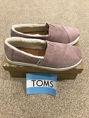 Toms Classic Youth Pink Cord Slip In Shoes With Fur Inside Size UK 1 Brand New
