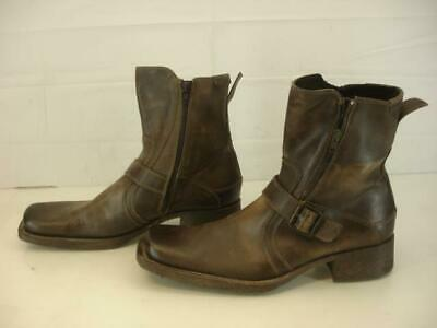 Mens sz 12 M ALDO Asuwen Harness Boots Brown Leather Strap Buckle Double Zippers