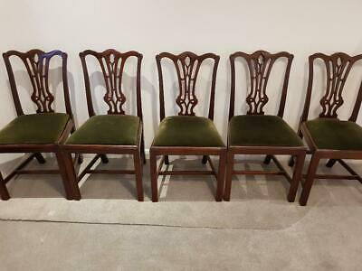 GENUINE ANTIQUE HAND CARVED MAHOGANY CHIPPENDALE CHAIRS x6