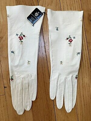 Vintage ROGER FARE White Kid Leather Gloves W/ Floral Embroidery  w/ tags