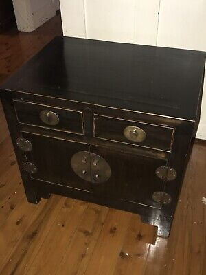 Traditional Black Lacquered Oriental Asian Side Table Cupboard