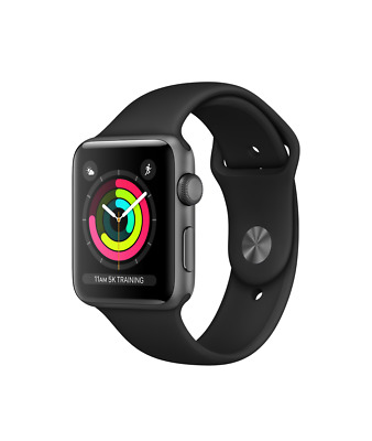 NEW SEALED Apple Watch Series 3 GPS 38mm 42mm Silver Space Gray Black Band