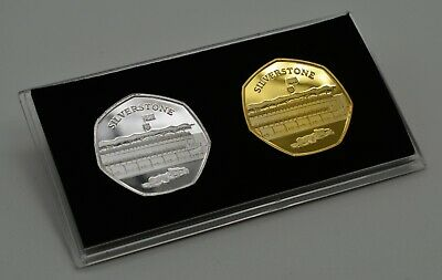 SILVERSTONE Silver & 24ct Gold Commemoratives in 50p Coin Display Case Formula 1