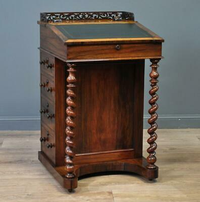 Attractive Antique Victorian Rosewood Davenport Desk, Barley Twist Supports
