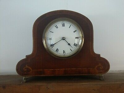 Vintage Wooden Inlaid Mantel Clock - French Movement