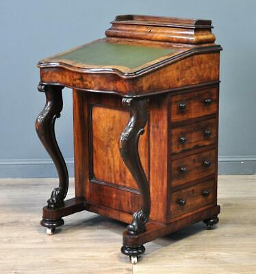 Attractive Antique Victorian Carved Burr Walnut Davenport Desk