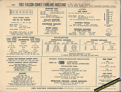 1967 Ford Falcon/Comet/Fairlane/Mustang 200 Automatic Sun Electronic Spec Sheet