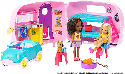 Barbie FXG90 Club Chelsea Playset with Doll, Puppy, Car, Transforming Camper and