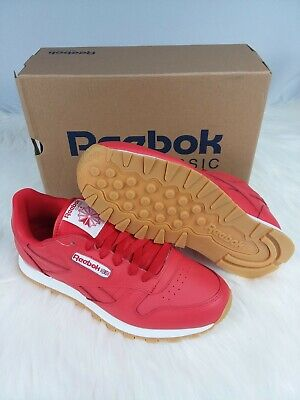 Reebok Classic Leather Gum Casual Sneakers Red Grade-School Boys Size 6.5 NWOB!